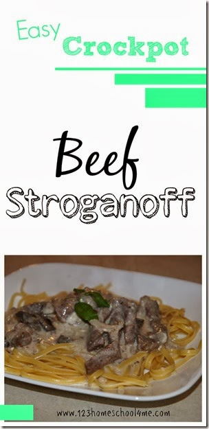 DELICIOUS beef stroganoff crock pot recipe - This easy crockpot recipe is so simple. Just dump all the ingredients in the slow cooker and before you know it you have an O-SO-TASTY Crockpot Beef Stroganoff dinner your family will love! This is one of our family favorite recipes.