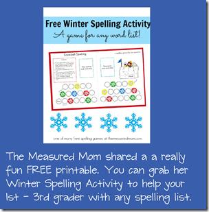 free printable winter spelling activity