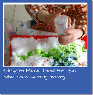 Indoor snow painting from b inspired mama