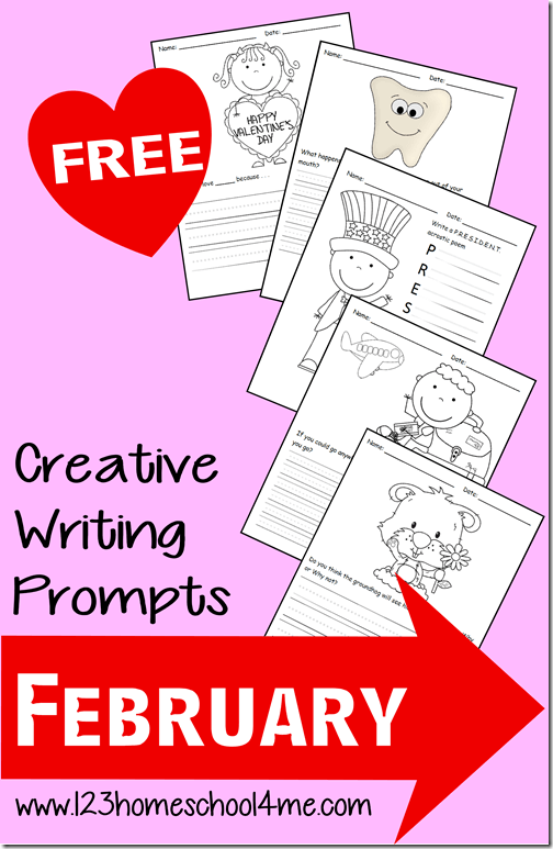 FREE February Creative Writing Prompts are a fun way to encourage kids to start writing. There are various themes like valentiens day, dental awareness month, groundhog day, vacation, presidents day,and many more. There are various sizes of lines to help kindergarten, first grade, 2nd grade, 3rd grade, and 4th grade kids.