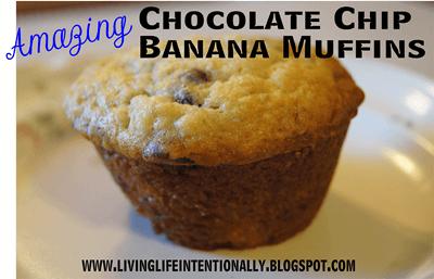 Chocolate Chip Banana Muffin Recipe #recipes