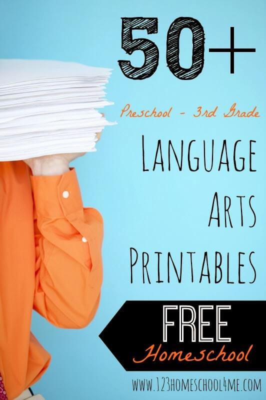 50+ FREE Language Arts Printables for Preschool, Kindergarten, 1st grade, 2nd grade, and 3rd grade homeschoolers