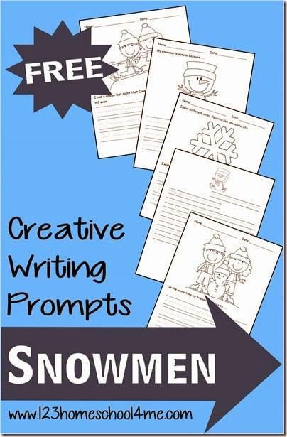 FREE Snowmen writing prompts #writingprompts #homeschooling