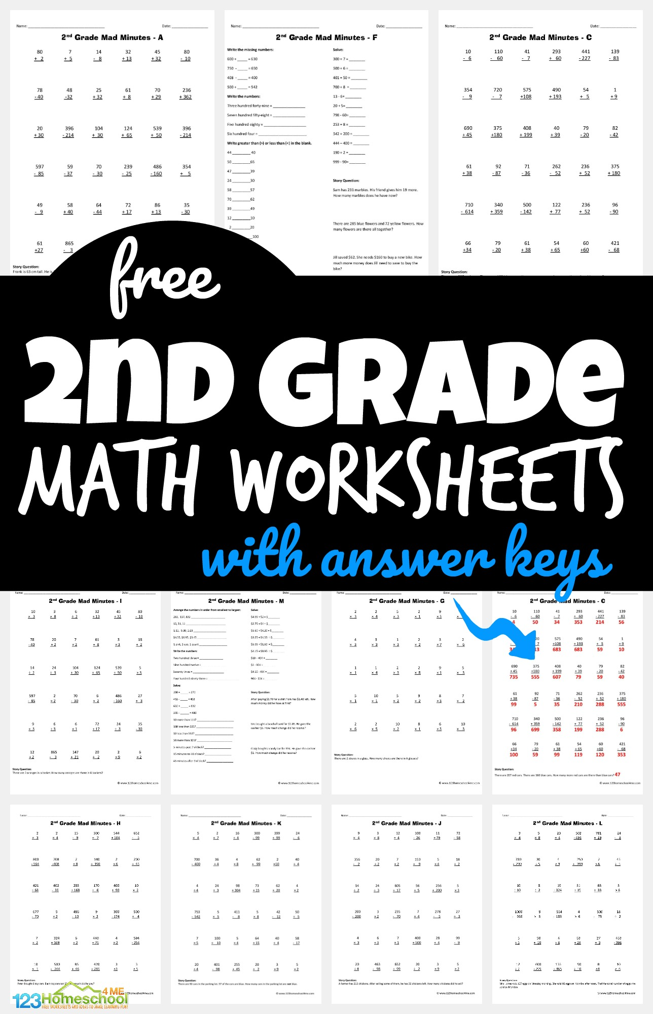 Free 2nd Grade Math Worksheets [ 1590 x 1024 Pixel ]