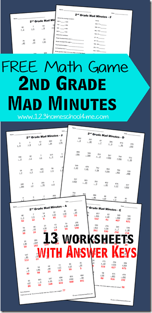 FREE 2nd Grade Math Worksheets - free printable worksheets for kids that turn practicing addition, subtraction, word problems, fractions and more into a fun math game for grade 2. #grade2 #2ndgrademath #mathworksheets #homeschool