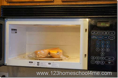 you can cook in the oven for 30 min, or microwave for 10 min