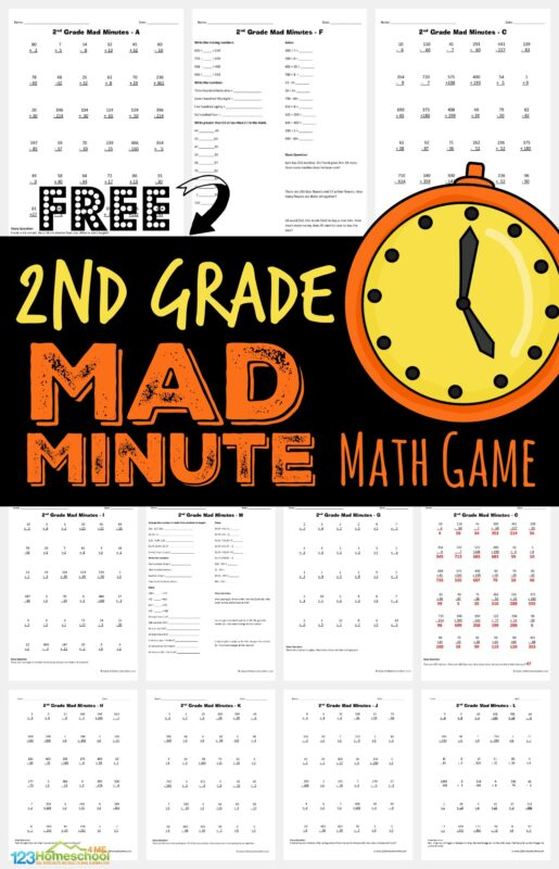 Help your grade 2 child get in practice with 2nd grade math using these handy, free printable 2nd grade math worksheets. Thesefree 2nd grade math worksheets include practice in addition, subtraction, word problems and more. Plus see how we turnsecond grade math worksheets into a fun math game by using these 2nd grade math printables into MAD MINUTES; a simple math game that helps children practice math while having FUN! Simply print 2nd grade math worksheetspdf and you are ready to play and learn!