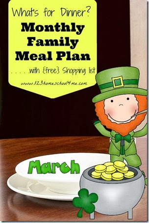 Your free March Meal Plan is here! Enjoy your extra free time planning for your homeschool, celebrating St. Patrick's Day, getting outside, and playing with your kids! Ourmonthly meal planner includes not only delicious, seasonal recipes your whole family will LOVE, but also a free printable grocery list to help save you time! Simply download pdf file withfree monthly meal planner at the bottom of the post.