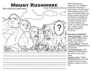 Mount Rushmore Worksheet for Presidents Day for Kids