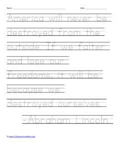 Presidents Day Printables with famous quotes tracing pages