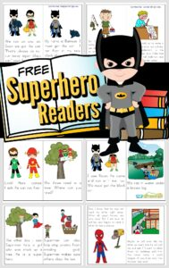 Encourage your little superhero fans to read with these super cute,free printable superhero books! We have super hero readers for toddler, preschool, pre k, kindergarten, first grade, and 2nd grade students. Each sight word reader has simple, easy-to-read text, filled with kid favorite characters like Batman, Superman, Flash, Green Lantern, Spiderman, and more!