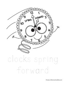 clock springs forward coloring page for spring