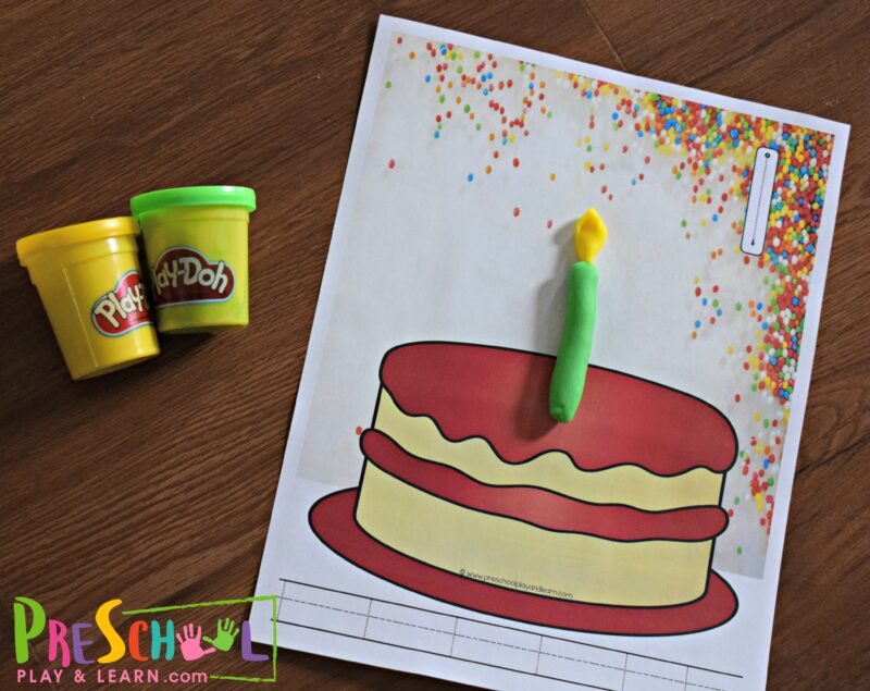 Free Birthday Candle Counting Playdough Mats