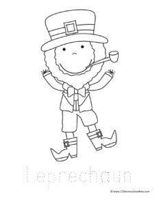 cute happy leprechaun coloring page