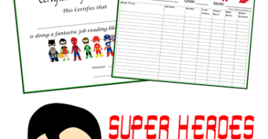 Super Heroes Reading Logs
