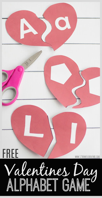 FREE Valentines Day Alphabet Game - this is such a fun, educational kids activity that will make kids love practicing their ABCs. Besides just practicing alphabet letters, this free printable also includes shapes. Such a great february center, extra practice, homeschool activity and more for Toddler, Preschool, and Kindergarten.