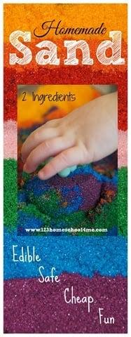 AMAZING 3 ingredient Edible Homemade Sand perfect for sensory play with toddler, preschool and kindergarten age kids. #sensory #preschool #kidsactivities