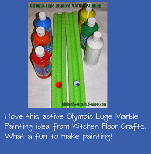 Olympic Luge Marble Painting Kids Craft