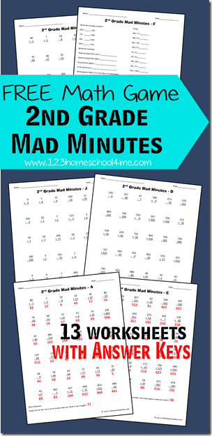 2nd Grade Math - These FREE printable Mad Minutes are a fun math game to help kids practice addition, subtraction, word problems, and so much more. Includes 13 2nd grade math worksheets with answer key.