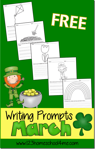 If you are looking for some fun ideas to get your child writing more, I've got you covered. Thesemarch writing prompts make practicing writing fun for kindergarten, first grade, 2nd grade, 3rd grade, and 4th grade students. Each pages features a fun seasonal writing idea from kites, flowers, leprechauns, rainbows, and more with convenient ruled lines for practicing handwriting too. Simply download pdf file with writing prompts for march and you are ready to go!