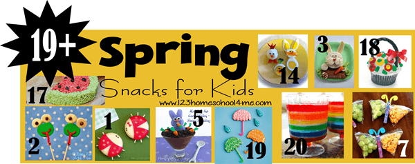 19+ Creative Spring Snacks for Kids - healthy spring snacks, rainbow snacks, spring cookies, and more!