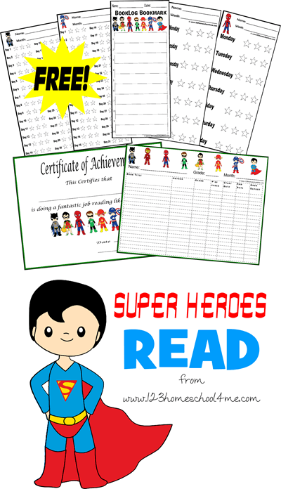 FREE Super Heroes Reading Logs are a fun way to get kids excited about reading 20 minutes a day! Lots of choices for tracking by time, book, or minutes! #reading #superhero #kindergarten