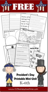Celebrate Presidents Day on the third monday of February with these free printable Presidents Day Worksheets for elementary age students. This huge pack of 44 pages of  presidents day for kids printables help kids learn about George Washington,  Abraham Lincoln, how we honor our presidents, famous presidential landmarks, and practice a variety of skills at the same time.  These presidents day activities are perfect for kindergarten, first grade, 2nd grade, 3rd grade, 4th grade, 5th grade, and 6th graders too. Simply download pdf file with free presidents day printables and you are ready for your Presidents Day Lesson.