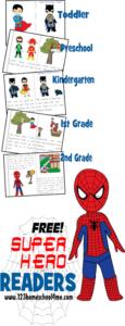 FREE Super Hero Reader Books - help kids learn dolch sight word with these fun emergent readers for preschool, prek, kindergarten, first grade, 2nd grade