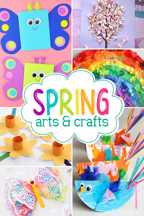 spring crafts for preschoolers including butterfly, rain, flowers, rainbows, ducks, and more