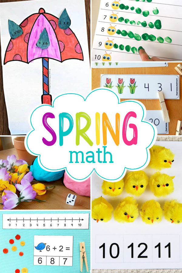 spring math ideas including spring math worksheets, spring math crafts, spring counting and more for toddlers, preschoolers, kindergartners, and elementary age students