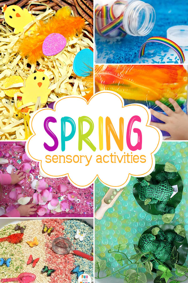 Spring Sensory Play  Dig into these fun spring themed sensory bins for some tactile play!