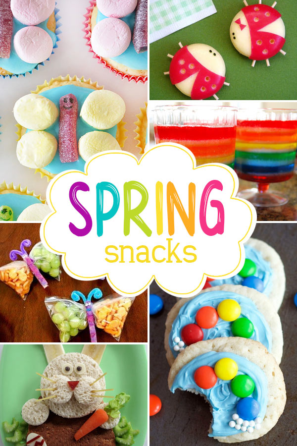 Spring Snacks for Kids  Make some of these creative spring snacks for kids. There are lots of healthy spring snacks, rainbow snacks, spring cookies, and more to choose from. Celebrate spring by making some of these delcious treats with your kids.