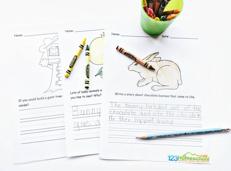 free printable april writing prompts about bunnies, treehouse, Easter, and more for kindergarten, first grade, 2nd grade, 3rd grade, and 4th grade students