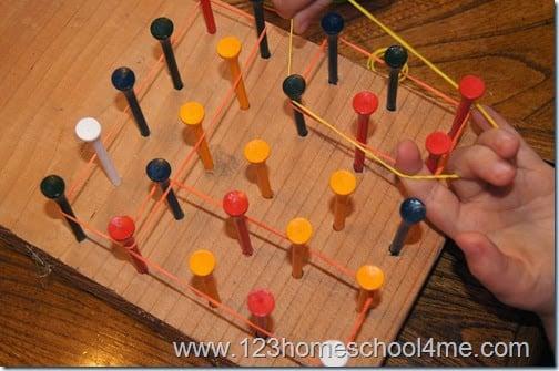 Homemade Geoboard to practice Kindergarten Shapes