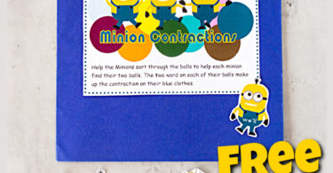 If you are looking for fun contraction games to help kids practice contraction words, you will love this quick, easy, and outrageously cute Minion contractions game. This contractions games is a great way to help 2nd grade, 3rd grade, and 4th grade students practice matching common contractions while having fun with these silly yellow Despicable Me inspired characters. Simply download the contractions activity pdf file with the convenient, re-usable file folder game.
