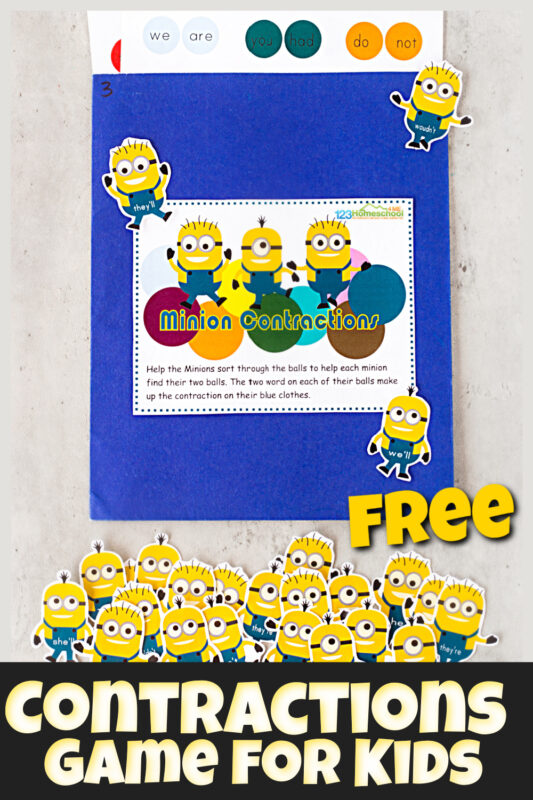 If you are looking for fun contraction games to help kids practice contraction words, you will love this quick, easy, and outrageously cute Minion contractions game. This contractions games is a great way to help 2nd grade, 3rd grade, and 4th grade students practice matching common contractions while having fun with these silly yellow Despicable Me inspired characters. Simply print the contractions activity pdf file with the convenient, re-usable file folder game.