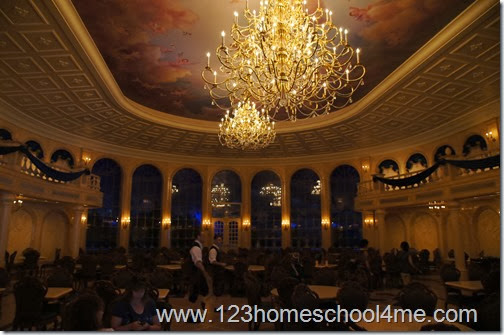 The elegant Ballroom Dining Room at Be Our Guest Restaurant