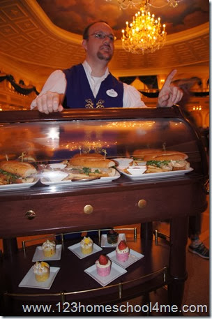 Disney will magically find you and serve your quick serve meal at your table at Be Our Guest Restaurant