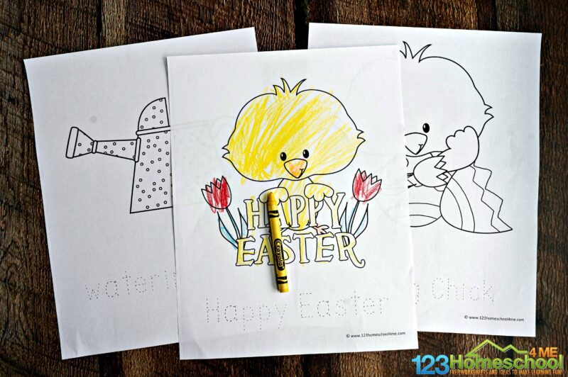 Free Easter Coloring Pages - chick with easter egg, basket, flower, decorating egg, garden tools