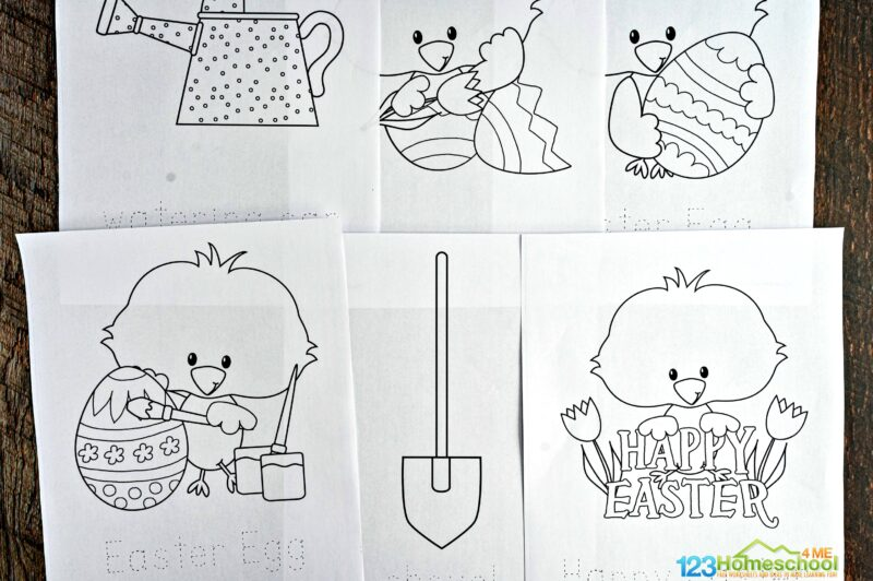 free Spring Coloring Sheets filled with chicks, easter eggs, gardening tools, flowers