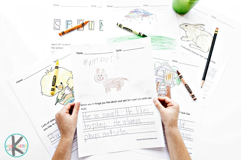 Spring Writing Prompts - free worksheets to help kids practice writing about pets, spring, weather, and more