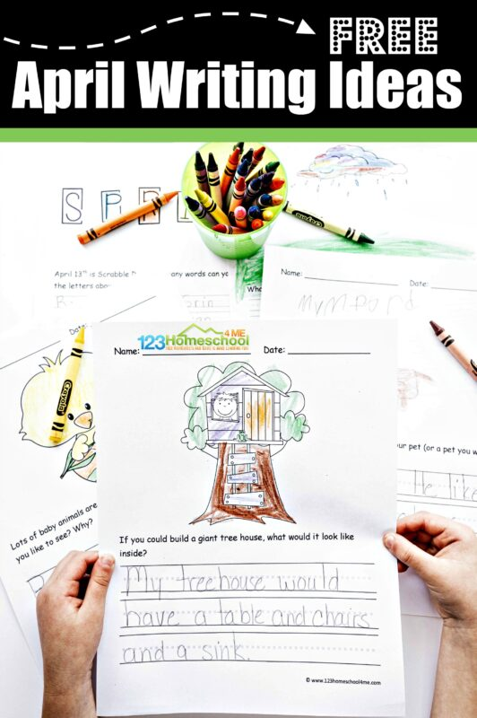 FREE April Writing Ideas -free printable creative writing prompts for kindergarten, first grade, 2nd grade, 3rd grade, 4th grade, 5th grade, and 6th grade students