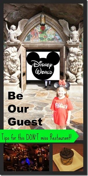 An up close look at Be Our Guest Restaurant at Disney World with tons of Disney dining tips, theming, menu, and more at the beauty and the beast restaurant to check out for your disney planning #disneyworld #disneydining #disneyworldplanning