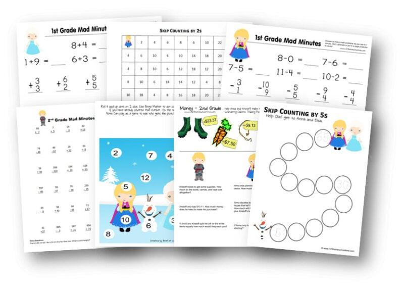 Super cute, FREE math worksheets with a Frozen theme for preschool, prek, kindergarten, first grade, and 2nd grade students.