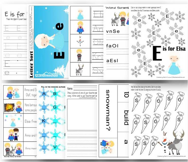 These super cute Frozen themed free preschool worksheets make practicing letter e, writing letters, matching uppercase and lowercase lettesr, and more FUN!