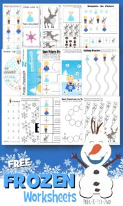 FREE Frozen Worksheets for preschool, kindergarten, and first graders including math worksheets, alphabet worksheets, and more! #frozen #preschool #preschoolworksheets