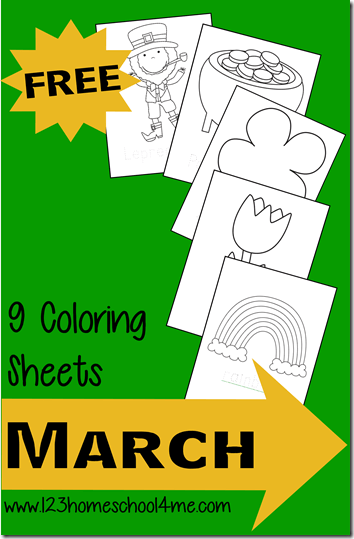 Free March Coloring SHeets