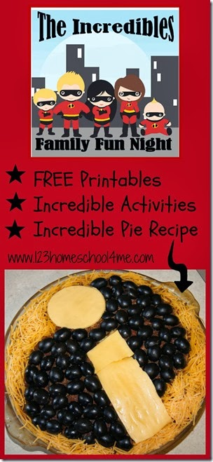 Incredibles Disney Family Fun Night Activity with activities, printables, and The Incredibles inspired Dinner.