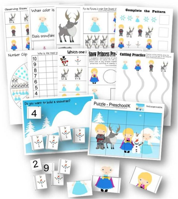 Kids will have fun learning alongside their favorite frozen characters of Anna, Elsa, Olaf, Sven, and more with these FREE printable Pre K Worksheets