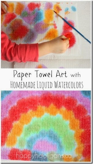 Paper Towel Art with Homemade Liquid Watercolors from Happy Hooligans